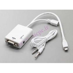 کابل mhl برای اتصال تبلت و موبایل به ویدیو پروژکتور و مانیتور (مبدل micro usb به vga) برای mhl v1